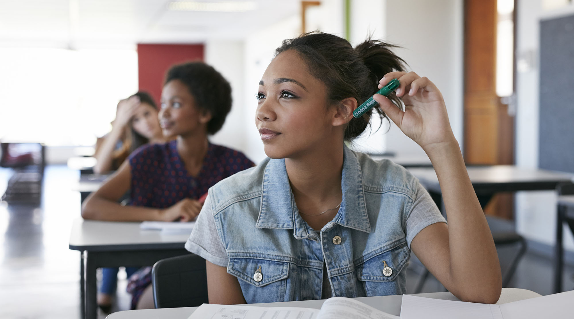 Female students in classroom