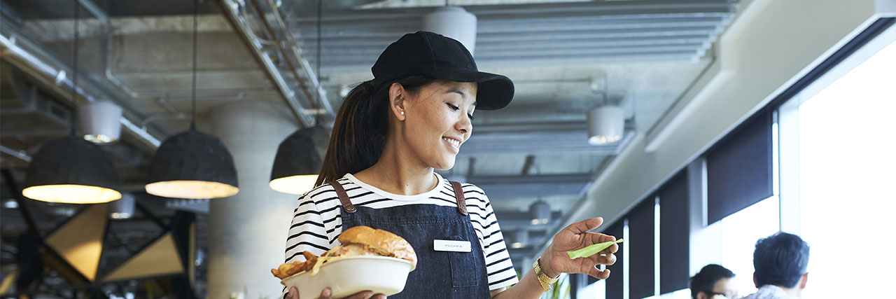 Waitress working in a restaurant